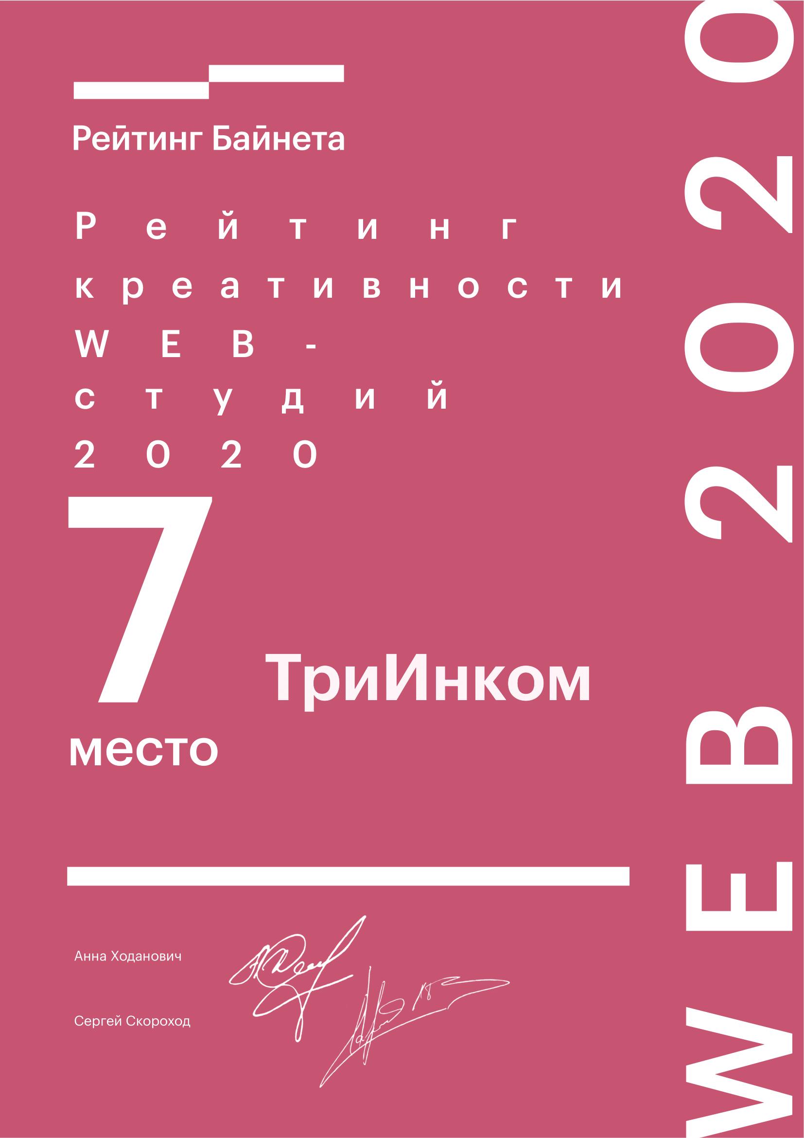 7-ое место в Рейтинге креативности среди белорусских web-проектов