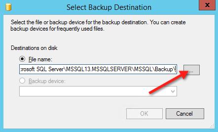 Окно выбора пути для сохранения файла резервной копии