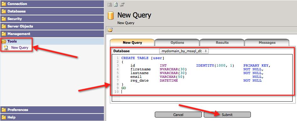 Пример выполнения SQL-скрипта в myLittleAdmin
