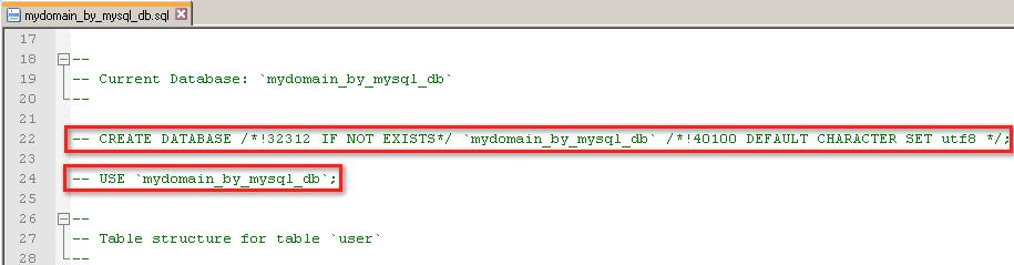 Закомментированный инструкции для создания базы данных