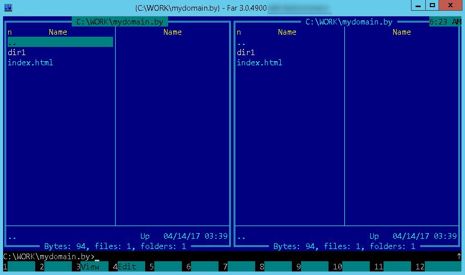 Главное окно программы FAR Manager