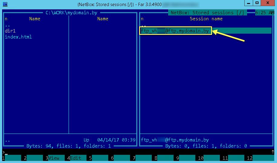 Подключение в списке FTP-серверов