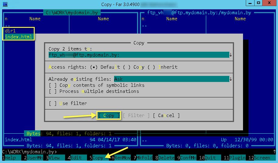 Загрузка файлов сайта на сервер