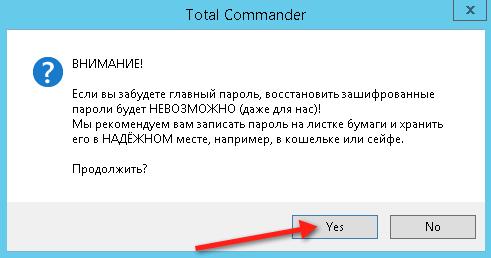 Предупреждение перед установкой главного пароля