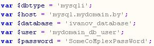Пример конфигурационного файла Joomla для доступа к базе данных MySQL